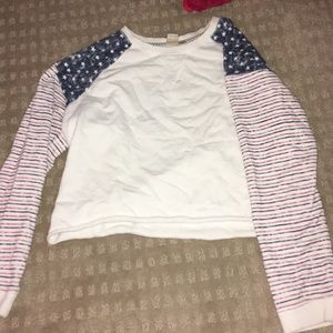 Cropped long sleeve, American flag themed shirt